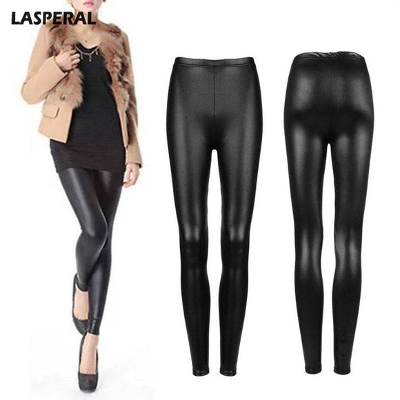 LASPERAL Cotton Lace PU Leather Women Stitching Lace Stretch Legging