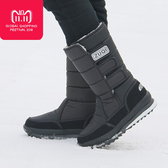 2018 Men Boots platform snow boots for men thick plush waterproof slip-resistant