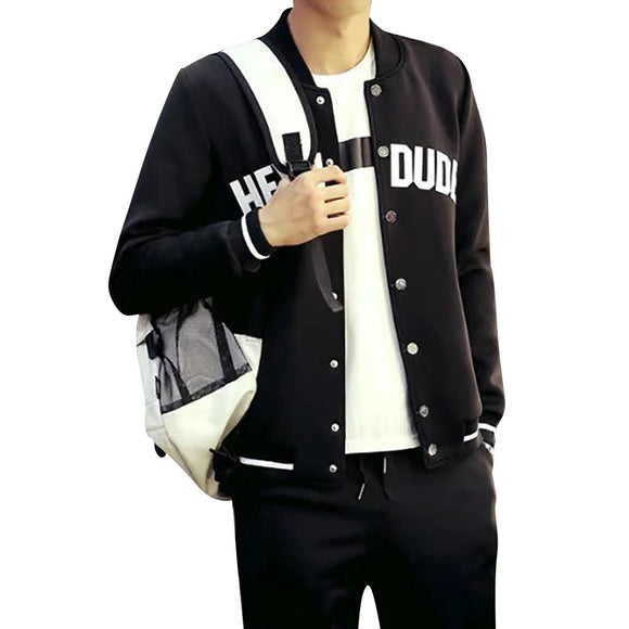Men Casual Jacket Letter Print Striped Baseball Jacket