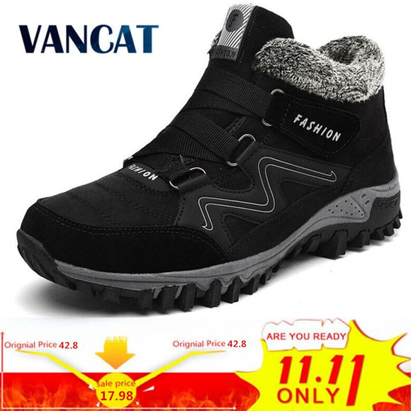 VANCAT Men Boots Winter With Fur 2018 Warm Snow Boots