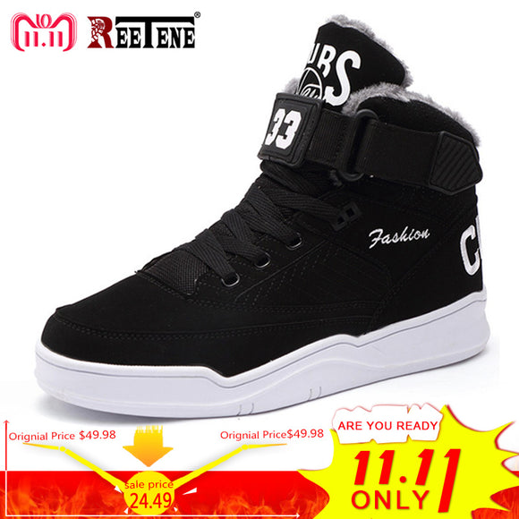 REETENE Winter Warm Men Snow Boots High Top  Fur Men'S Boots
