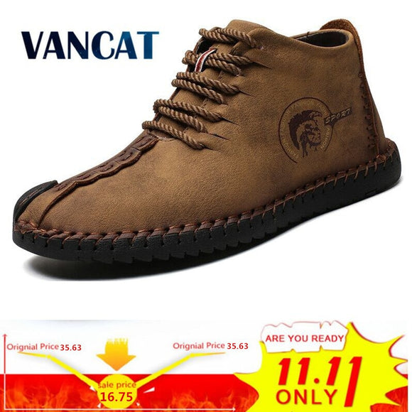 Vancat Fashion Men Boots High Quality Split Leather Ankle Snow Boots