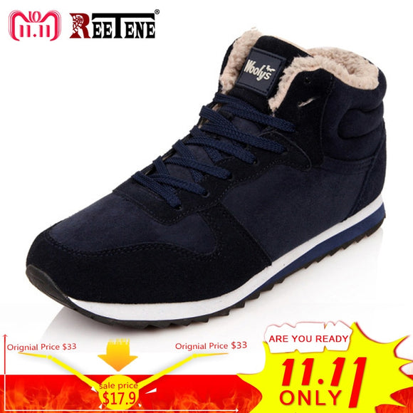 REETENE Cheapest Winter Boots Men Fashion Fur Flock Winter Shoes