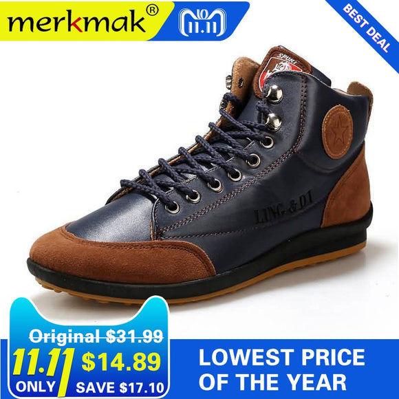 New 2018 Men Leather Boots Fashion Autumn Winter Warm Cotton Brand Ankle Boots