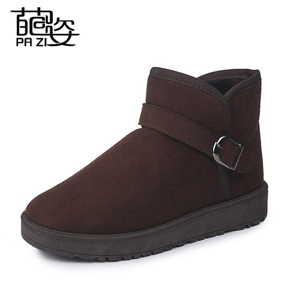 Snow boots 2018 Classic Heels Flock Women Winter Boots Warm Fur Plush Insole Snow Boots