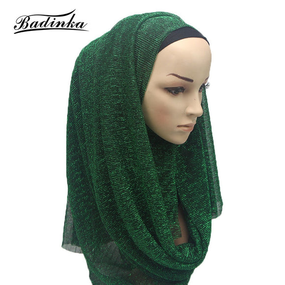 Badinka 2018 New Summer Solid Color Shinny Shimmer hijab Scarf