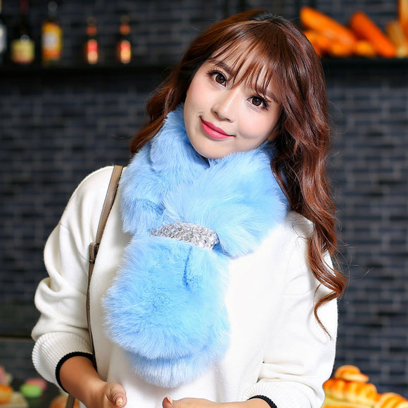 5 colors Faux Fur Collar Winter Solid Scarf Women Faux Knitted Rex Fox Fur Scarves