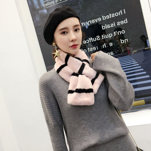 Mingjiebihuo Korean striped imitation rabbit hair cross scarf student fur collar