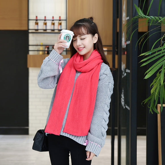 Korean women girls warm wild cute scarf fresh wool