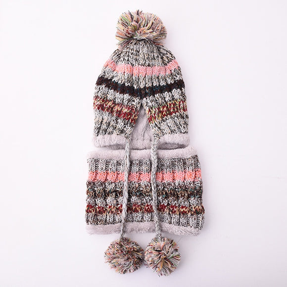 new fashion Winter wool hat ladies warm knitted hat hanging ball cute