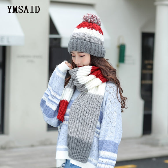 Women Hats 2018 Autumn Winter Fashion Brand Hats Scarf Knitting