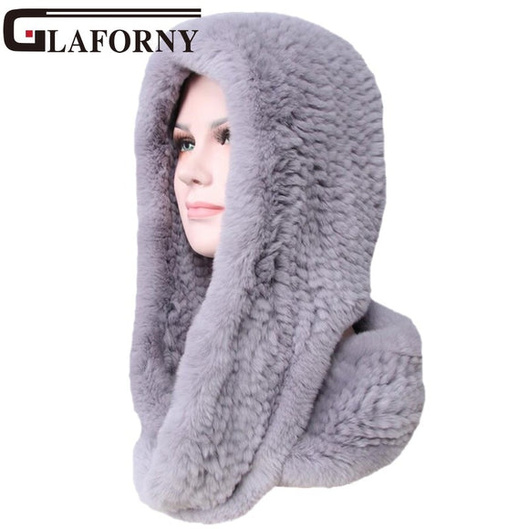 Glaforny 2018 Knitted Real Rex Rabbit Fur Hat Ear Muff Earwarmer Scarf