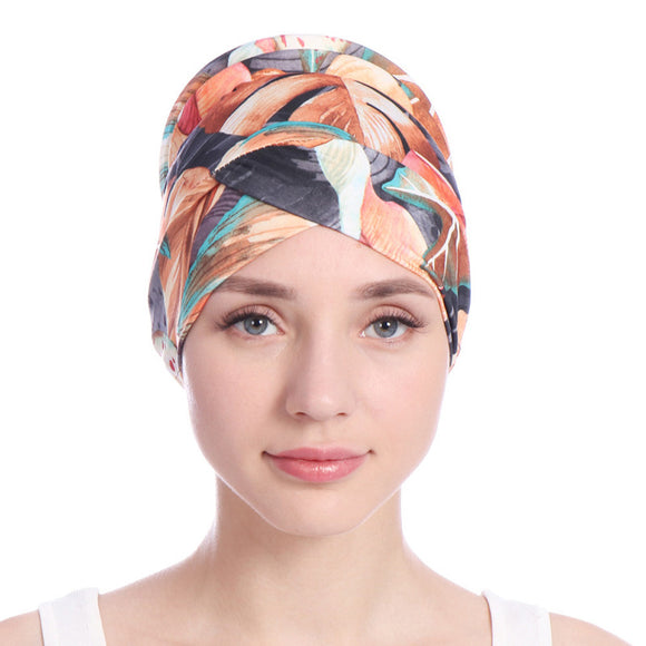 2018 New Fashion Women Printed India Hat Muslim Ruffle