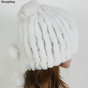 Winter Fur Caps Hats Beanies For Women Sew Stripes Real Rex Rabbit Fur