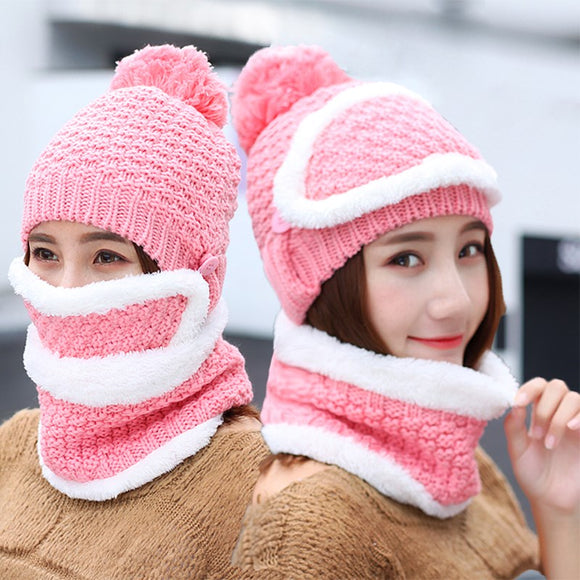 Knit Scarf Cap Neck Warmer Winter Hats For Women Autumn Female Hat