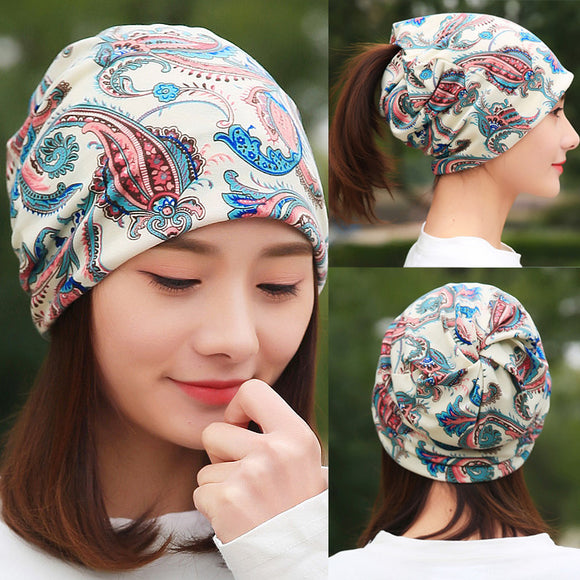 LongKeeper Women's Hat Cotton Beanies Scarf Ladies Flower Bamboo Leaf Headscarf