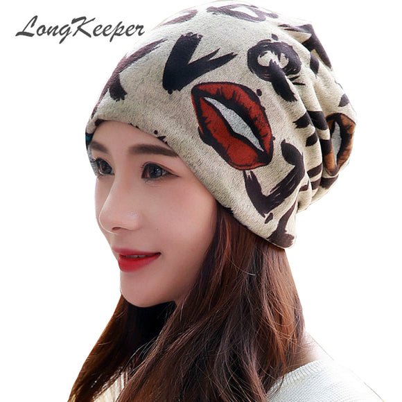 LongKeeper Lip Print Beanie Hat Girls Autumn Beanies Women Velvet Gorros Cotton