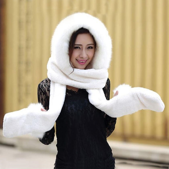 Hot selling new women winter warm soft plush faux fur hooded cap scarf gloves