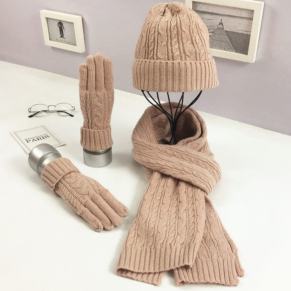 Autumn/Winter New Fashion Solid color Knitting Wool Three-piece Set