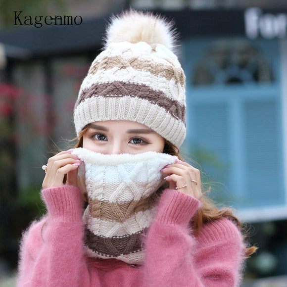 Kagenmo New Woolen knit Cap and Scarf Thick Villus keep warm