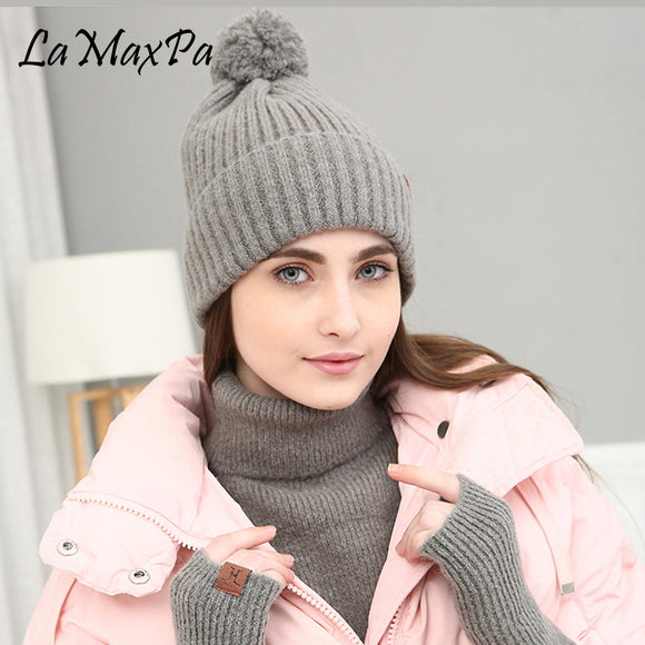 LaMaxPa 2018 New Fashion Solid Thick Women Scarf, Hat & Glove Sets