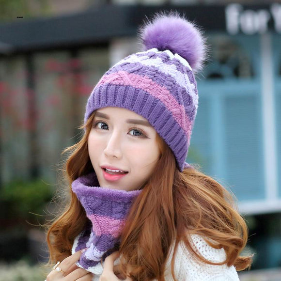 GBCNYIER Women winter warm Cap and Scarf Outdoor riding thermal twinset Female
