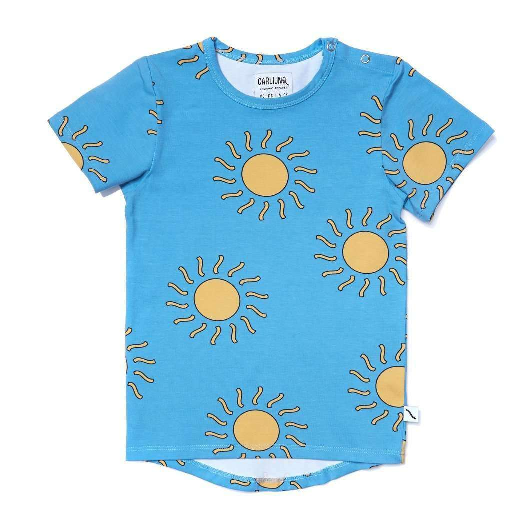 CarlijnQ T-Shirt - Short Sleeve CarlijnQ Big Sun Drop back T-shirt- Blue