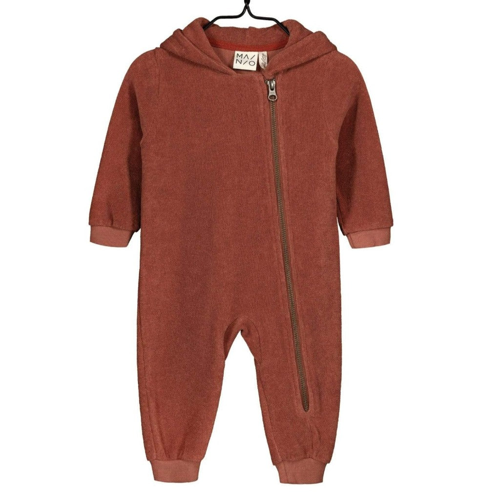 Mainio -Terry Hooded Jumpsuit- Russet