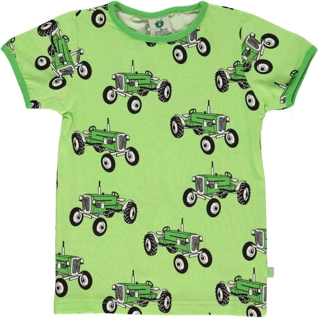 Smafolk T-Shirt - Short Sleeve Smafolk- Short Sleeve Tee Shirt with Old Style Tractor- Green