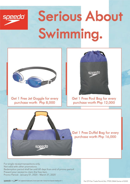 New year, New swim! Shop at any Speedo stores from January 01 to March 31, 2020, and get one of these freebies.