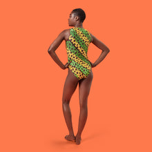 Load image into Gallery viewer, House of Holland Vivid Cheetah Stripe Swimsuit Green Multi