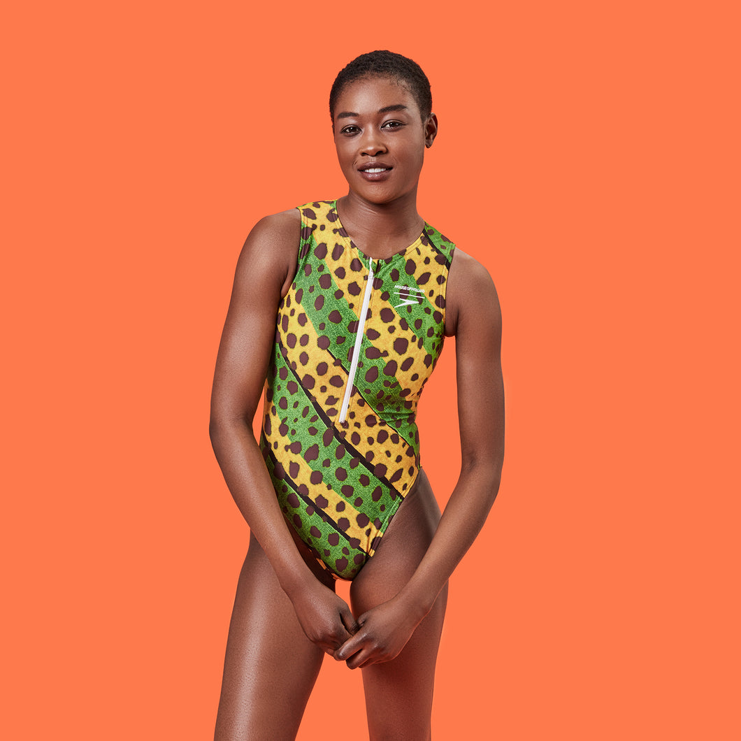 House of Holland Vivid Cheetah Stripe Swimsuit Green Multi