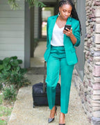 Money Green-Satin Blazer