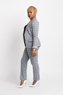 Plaid Pants-Gray