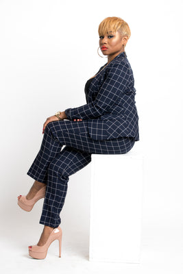 Plaid Blazer-Navy