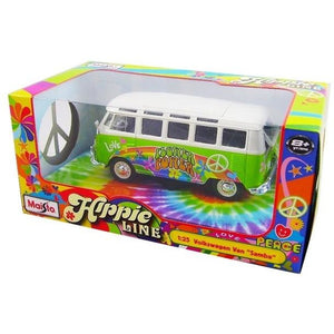Volkswagen VW T1 Samba Bus Hippie Line Flower Power bright green / white 1:24