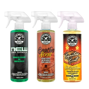 Chemical Guys New Car Scent & Leather Scent & Signature Stripper Scent Kit - WWW.PLANETAUTO.IE