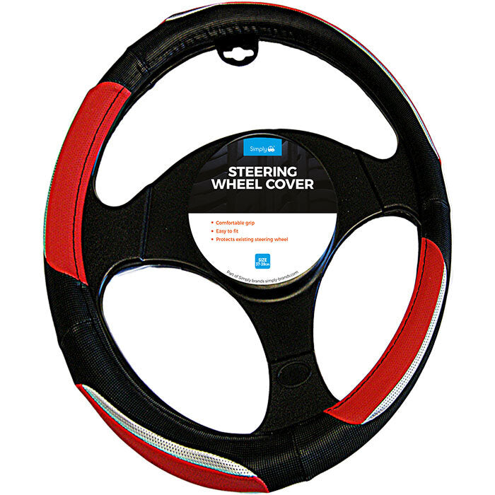 Simply Steering Wheel Cover Luxury Chrome Red