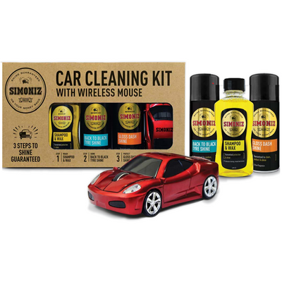 SIMONIZ CAR CLEANING KIT WITH WIRELESS SUPERCAR MOUSE - WWW.PLANETAUTO.IE