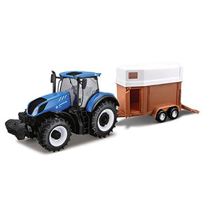 Burago New Holland T7HD Tractor with Horse Trailer 1:32 - WWW.PLANETAUTO.IE