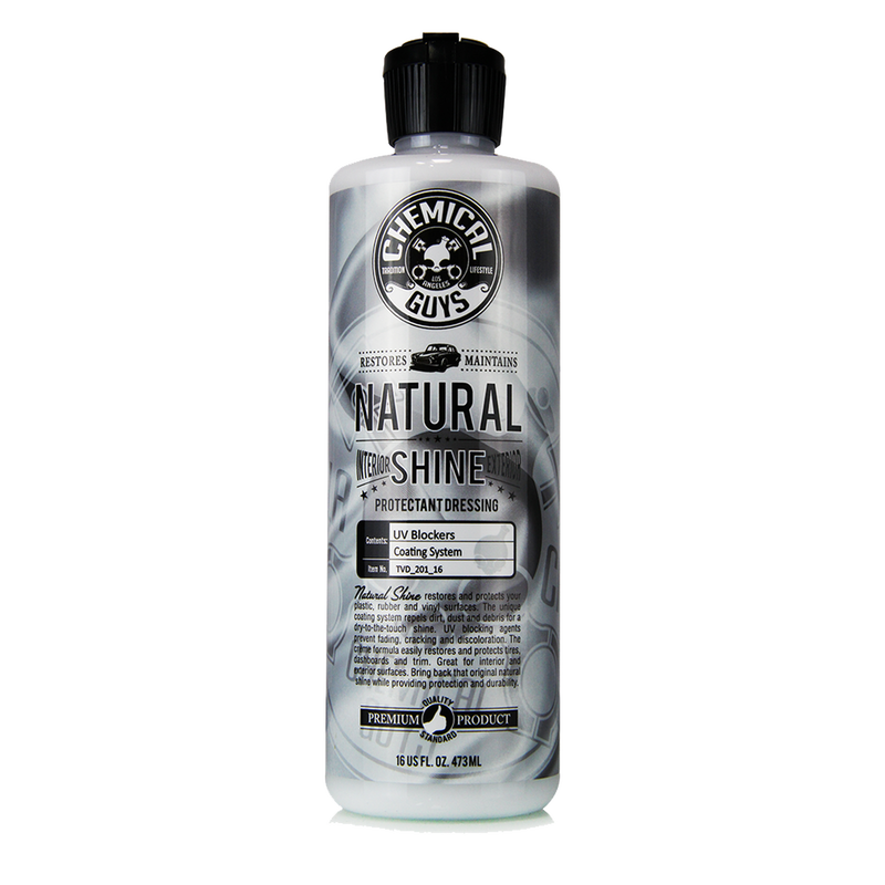 Chemical Guys Natural Shine New Look Shine Plastic, Rubber, Vinyl Dressing 473ml - WWW.PLANETAUTO.IE