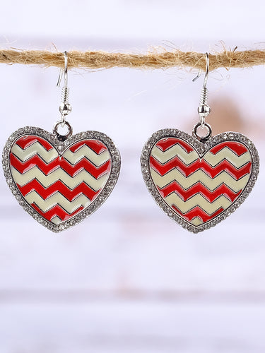 Red & White Chevron print heart earrings