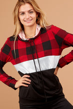 Load image into Gallery viewer, Buffalo Plaid & Sequins Hoodie - Sm - 3XL