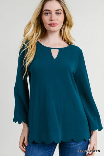 Teal Green Scalloped Trim 3/4 inch Sleeve Key Hole Top.