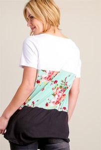 3 Layers Soft Short Sleeve Shirt - Turquoise Floral