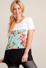 Load image into Gallery viewer, 3 Layers Soft Short Sleeve Shirt - Turquoise Floral