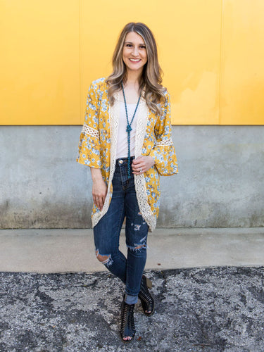 Spring Flowers & Mustard Kimono with Crochet Lace Detail - S/M left