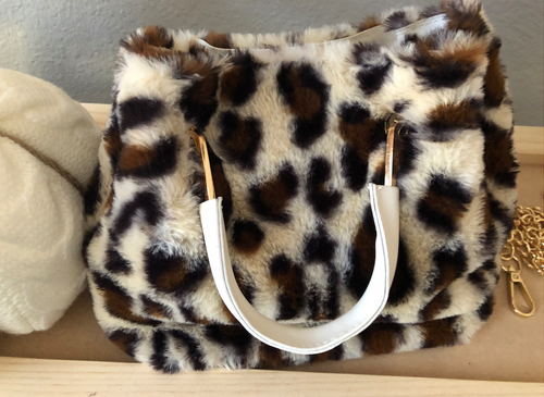 Leopard teddy bear plush clutch with a removable cross body chain strap
