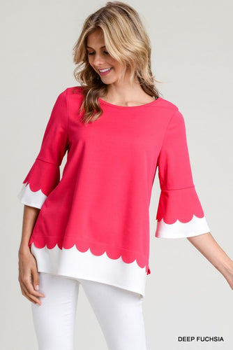 Fuchsia Scalloped Trim 3/4 Sleeve Top