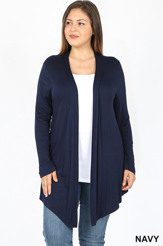 Navy Long Sleeve soft Mid-Length Cardigan - Plus Sizes